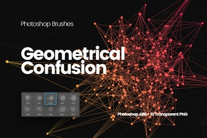 抽象几何图形PS笔刷 Geometrical Confusion Photoshop Brushes插图(1)