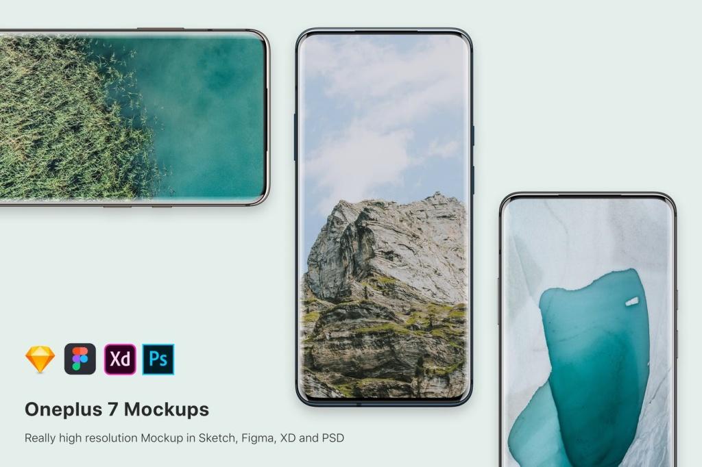 One Plus 7安卓手机UI界面设计预览样机模板 One plus 7 mockup插图