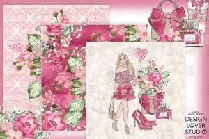 情人节礼物腮红色水彩花卉剪贴画设计素材 Spring Girl digital paper pack插图4