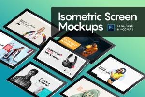 网页设计等距平板电脑屏幕样机 Isometric Screen Mockup插图1