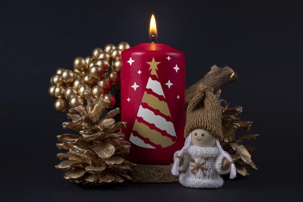 圣诞节蜡烛印花图案效果图样机模板 Christmas candle mockup插图