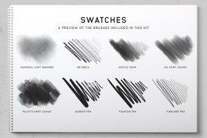 素描/水彩/油画Procreate专用笔刷 Procreate Brushes Starter Kit插图(6)