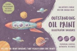 令人惊叹的油画AI笔刷 Outstanding Oil Paint Brushes插图1