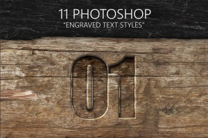 11种雕刻文字图层样式 11 Engraved Text Styles插图1