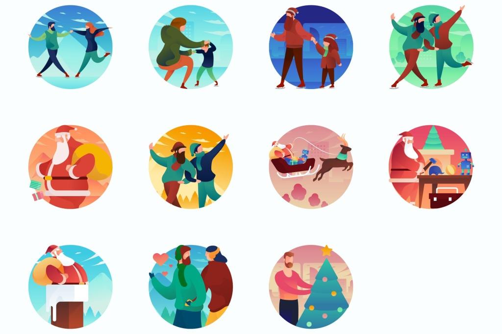 圣诞节主题曲线人物概念插画 Christmas Curvy People Concept Illustrations插图