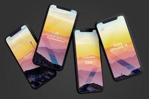 iPhone X智能手机APP设计演示黏土样机模板 Clay iPhone X Mockup 06插图1
