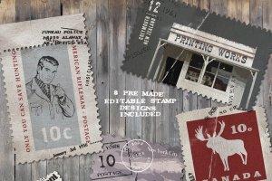 复古邮票印章效果图层样式PSD分层模板 Old Stamping Ground – Smart PSD插图5