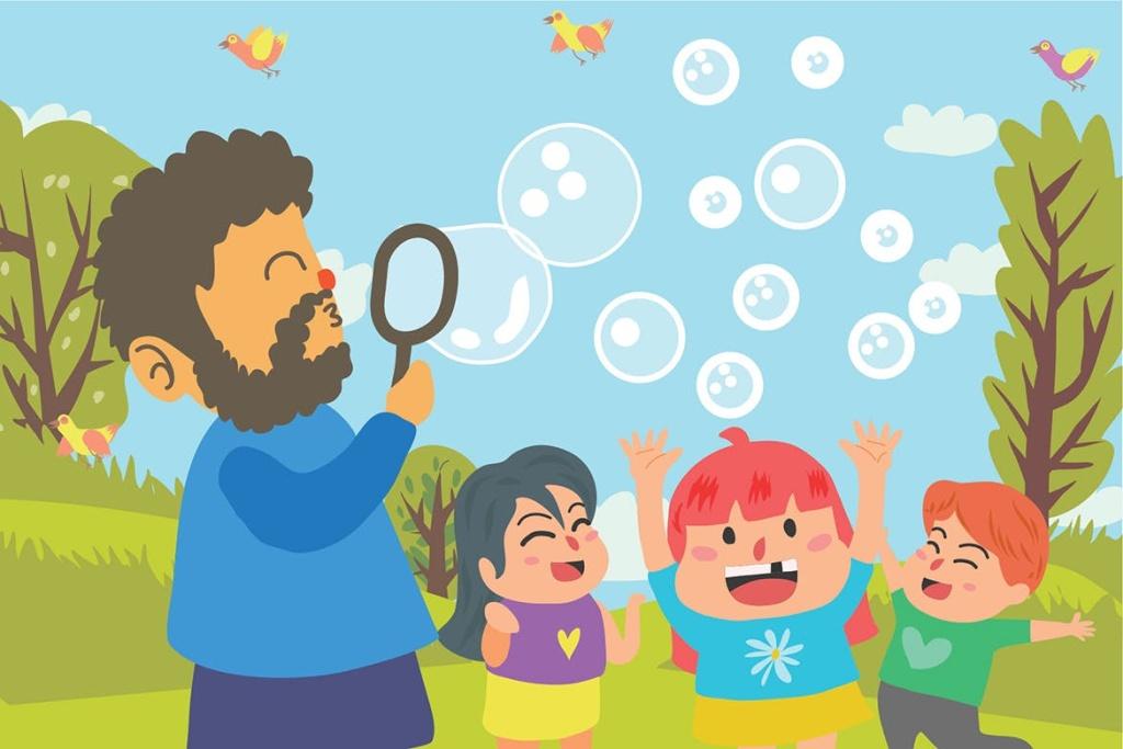亲子活动主题矢量图设计素材 Play Bubble – Vector Illustration插图