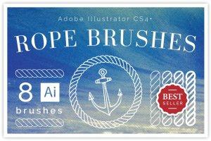 8款绳索缆绳AI笔刷套装 8 Nautical Rope Brush Set插图1