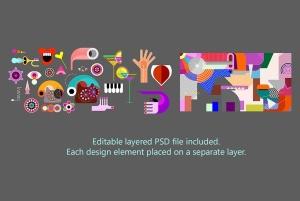抽象艺术插画矢量背景素材 Abstract Art Vector Background插图3