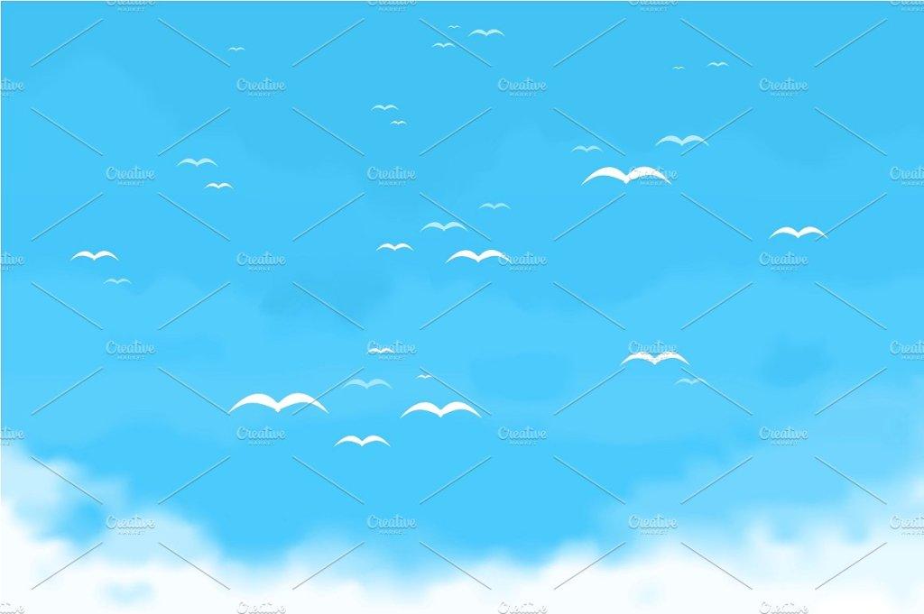 一群在空中飞翔的鸟  Sky birds插图