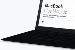 MacBook笔记本电脑屏幕演示右视图样机 Clay MacBook Mockup, Right View插图3