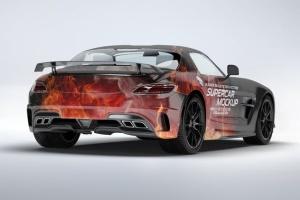 超级豪华跑车梅赛德斯SLS AMG样机模板 Supercar Mercedes SLS AMG Mock-Up插图5