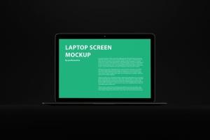 黑色背景MacBook Air笔记本电脑演示样机 Black MacBook Air Mockup插图2