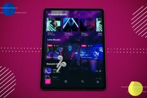 抽象设计风格iPad Pro平板电脑APP设计屏幕预览样机 Abstract iPad Pro Music App插图4