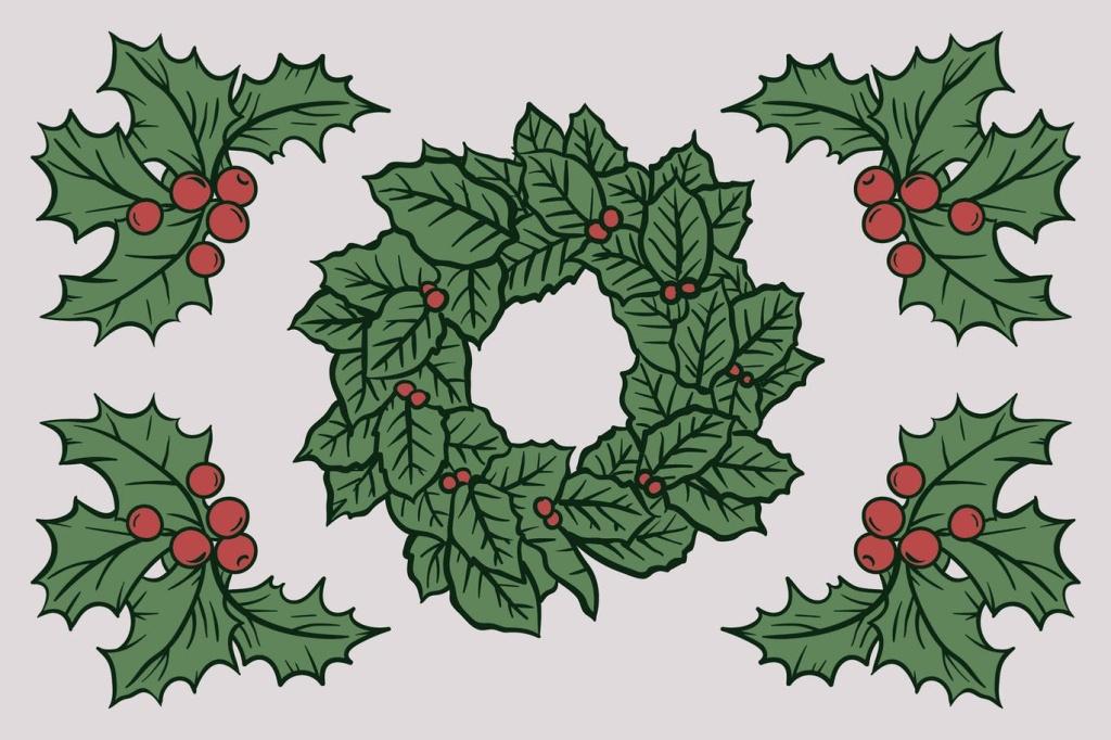 圣诞节浆果&树叶矢量手绘矢量素材 Christmas Autumn Berries Drawing插图