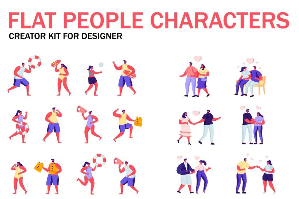 扁平化设计风格虚拟人物角色图形设计工具包v6 Flat People Character Creator Kit插图