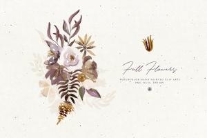秋天手绘水彩花卉插画设计素材 Fall Flowers插图3