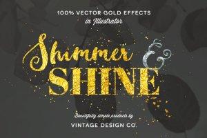 100%矢量闪亮金箔图层样式 Shimmer & Shine: 100% Vector Gold插图1