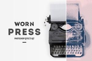 一键生成怀旧老照片效果PSD分层模板 Worn Press Photoshop Effects Kit插图1