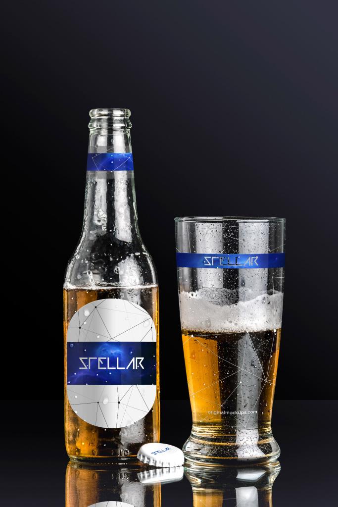 啤酒品牌商标设计图预览啤酒瓶&啤酒杯样机01 Beer Bottle and Glass Mockup 01插图