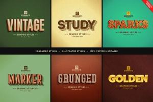 复古风格AI字体样式合集v02 Retro Vintage Text Styles Vol.02插图1