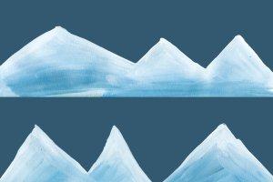 圣诞手绘水粉雪景-剪贴画  Snowy Landscape – clipart插图5