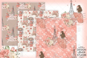 食物元素水彩花卉剪贴画设计套装 Paris je t'aime digital paper pack插图2