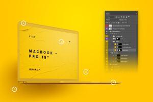 15寸MacBook Pro苹果笔记本电脑屏幕设计效果图预览前左视图样机02 Clay MacBook Pro 15″ with Touch Bar, Front Left View Mockup 02插图3