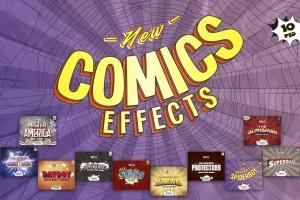 3D复古动漫卡通封面字体设计样式PSD图层样式 Comics Text Effects插图1