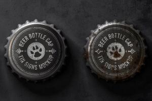 瓶盖金属锡标Logo设计效果图样机模板 Bottle Cap Metal Tin Signs  Mockup插图4