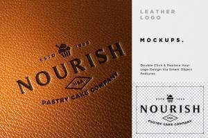 真皮材质品牌Logo设计压印效果图样机模板 Leather Branding logo mockups插图5