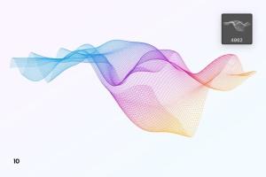 抽象数字网格波纹背景纹理PS笔刷 Digital Grid Waves Photoshop Brushes插图14