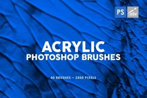 30款丙烯酸油画颜料纹理PS笔刷v1 30 Acrylic Texture Photoshop Brushes Vol. 1插图1