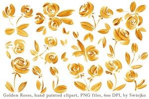 23个豪华手绘金玫瑰剪贴画集合 Golden Roses clipart set插图2