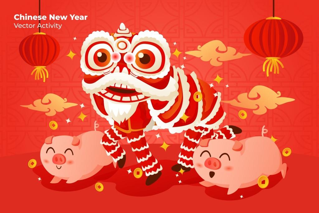 中国新年猪年快乐矢量插画素材 Chinese New Year – Vector Illustration插图