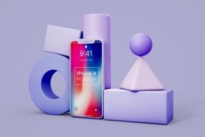 iPhone X手机创意场景样机模板 iPhone X Still Life Mockup插图1