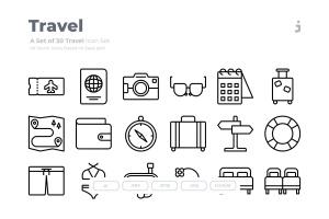30枚旅行旅游主题Outline风格矢量图标 30 Travel Icons – Outliner插图1
