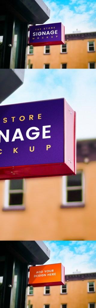 户外店标牌样机Outdoor Store Signage Mockup插图