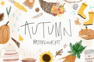 秋天主题水彩手绘图案设计素材包 Autumn Watercolor Kit插图1