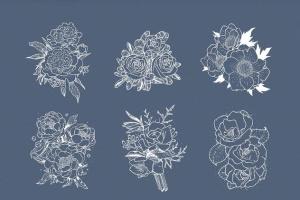 40款水彩图形PS画笔笔刷&矢量花卉插画素材 Cloudy Watercolor Decorations Set插图4