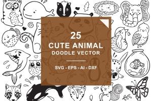 可爱卡通动物涂鸦手绘矢量图案素材 Cute Animal Doodle Vector插图1