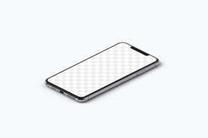 iPhone XS Max手机屏幕预览效果等距右视图样机 iPhone XS Max Mockup, Isometric Right View插图2