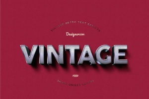14个复古风格立体特效PS字体样式 14 Vintage Retro Text Effects插图13