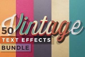 50款经典复古文本文字效果图层 50 Vintage Text Effects Bundle插图1