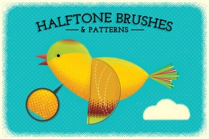 半色调点状/线条AI笔刷 Halftone Brushes + Bonus Patterns插图1
