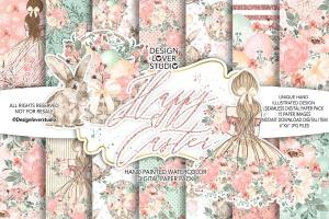 复活节快乐女孩水彩花卉剪贴画套装 Happy Easter Girl digital paper pack插图1