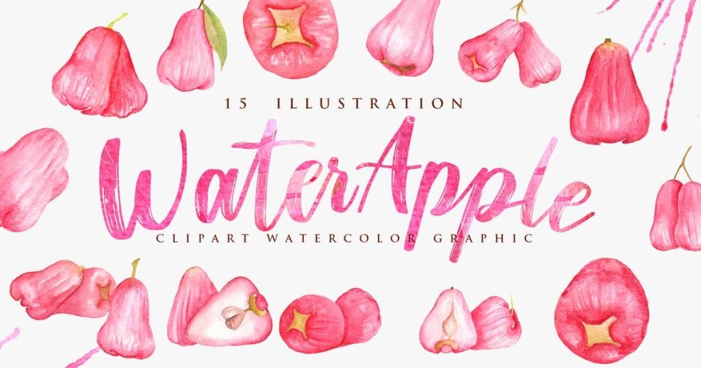 15个红苹果水彩插画素材合集 15 Watercolor Red Water Apple Illustration插图