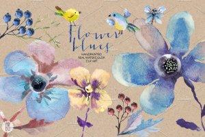 花朵、鸟儿、蝴蝶及乡村背景元素  Aquarelle blue flowers插图4