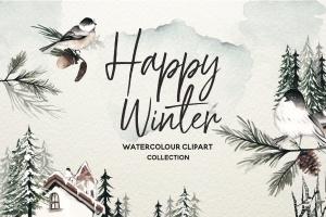 冬季元素水彩手绘剪贴画PNG素材 Winter Watercolor Collection插图1